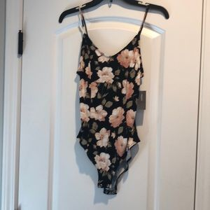 Floral snap, crisscross back bodysuit, NEW